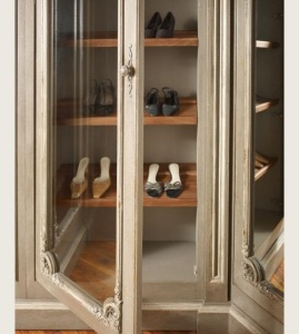 Built-In Glass Door Shoe Storage Racks